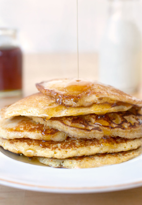 glorious buttermilk cornmeal pancakes are the perfect excuse for too much maple syrup